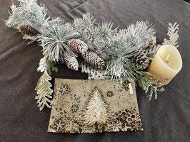 Formano Schale Weihnachten Winter Deko  Schale Glas passend LED Kerze creme gold mit Timer