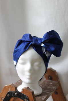 Haarband aus blauem Batikstoff