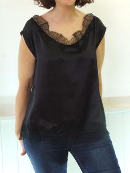 Top en soie lingerie noire