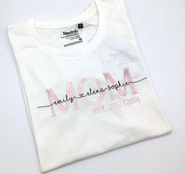 MOM T-Shirt mit Namen in weiß  | verschiedene Größen