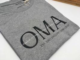 OMA T-Shirt grau | schwarz mit Namen | verschiedene Größen