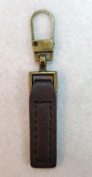 Bronskleur metaal met bruin imitatieleer ritsenschuivertrekker