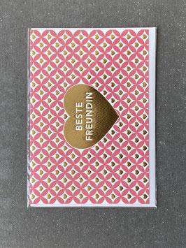 """Kupfergold Klappkarte mit Umschlag """"Beste Freundin"""""""
