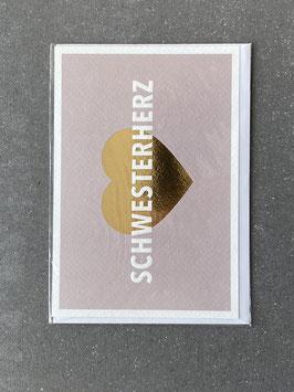"""Kupfergold Klappkarte mit Umschlag """"Schwesterherz"""""""