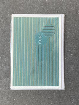 """Kupfergold Klappkarte mit Umschlag """"Danke"""" (blau)"""