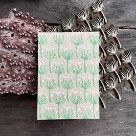 Postkarten handbedruckt auf  Graspapier mit indischen Holzstempel 37