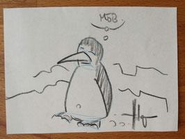 """Holger Bommer: Minizeichnung Pinguin """"Möb."""""""