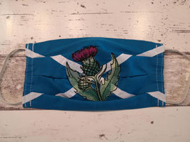 Maske Schottlandflagge mit Distel,  royalblau