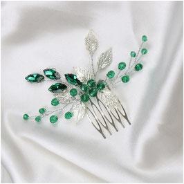 Haarkamm Silber Grün Perlen N3500 Haarschmuck Braut Haarschmuck Hochzeit