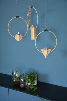 3er-Set Geometrische Ringe - geometrischer Wandschmuck - Kerzenhalter fürs Fenster