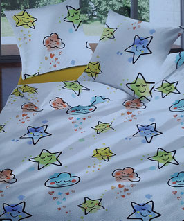 Bettwäsche Seersucker TOP MARKE LOTUS Dessin Cute Stars