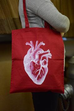 Stofftasche Herz (weinrot)