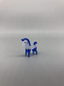 mini horse in blue/white