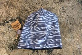 Wendebeanie Zebra Blau
