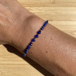 Bracelet doré Lapis Lazuli 3mm, REF: BD12-01