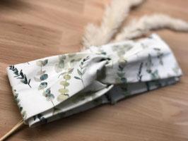 Eukalyptus Jersey-Stirnband Turban-Optik weiß-grün