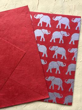 Postkarte Roter Elefant