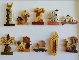 10 Magnets aimantés pour frigo en bois