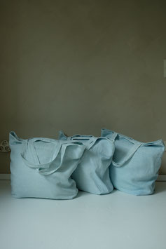 LINEN MAXI SHOPPER - SKY BLUE