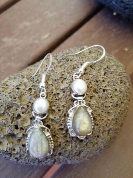 Ohrhänger Silber & Labradorit & Perle I