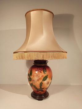 Grande lampe à poser pied céramique vernie fleurs orange et marron