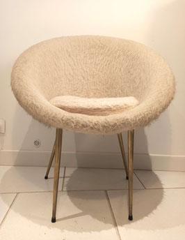 Fauteuil chaise assise vintage 1960 corbeille moumoute écru