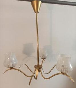 Lustre 3 feux vintage doré et verre imprimé blanc