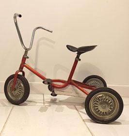 Tricycle enfant des années 1960 métal orange irisé