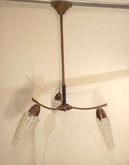Lustre suspension luminaire 3 feux vintage laiton doré et noir globes verre moulé