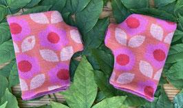 Daisy pink auf lachs - Fingerlose Handschuhe Gr. 1