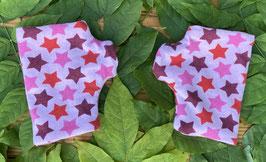 Sterne rosa-bunt - Fingerlose Handschuhe Gr. 1