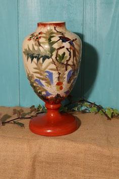 Vase émaillé feuillage et oiseau