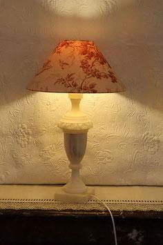 Lampe et abat-jour - pied en albâtre