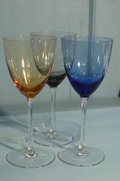 3 Verres couleur en cristallin soufflés à la bouche Guy Degrenne