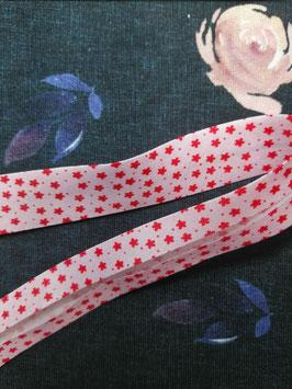 Schrägband Baumwolle rosa Blumen 20mm