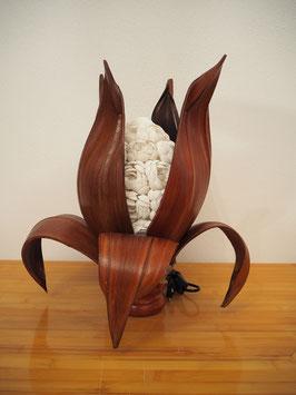 Muschellampe Palmblatt Lotus (8 lange Blätter, ovale Lampenform, hellbraun)