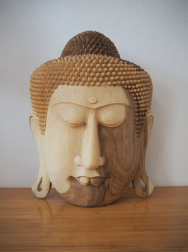 Massive Buddha Wandmaske aus Suarholz mit natürlicher Holzmaserung, unbehandelt -R7-