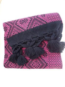 Boho Schal/ Tuch, Winterschal (lila-pink-schwarz) aus Mexiko