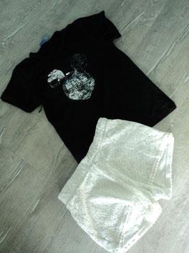 N-22 Set zusammengestellt Shirt schwarz mit Wendepailletten Mickey Mouse und Spitzenshorts in weiß Gr. 152