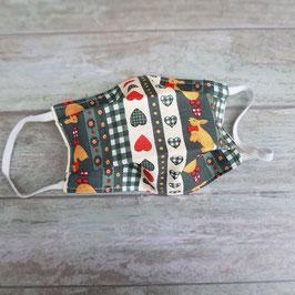 Masque barrière pour enfant coton imprimé lapins et cœurs