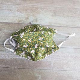 Masque barrière pour enfant coton vert à petites fleurs roses