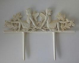 Beetstecker Elfen Gartenstecker Gusseisen Creme Shabby 36 x 25 cm
