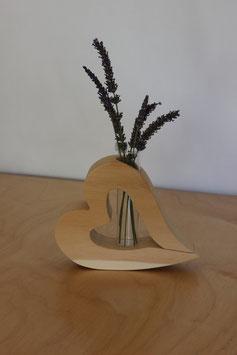 Herz-Vase Zirbelkiefer liegend mit Einsteckvase