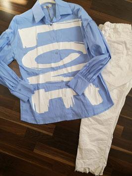 Bluse LOVE Blau/Weiß M/L