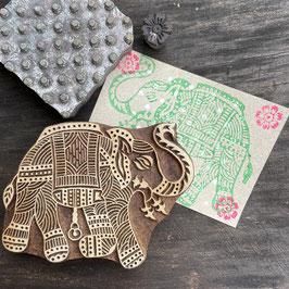 Postkarten handbedruckt auf  Graspapier mit indischen Holzstempel 35
