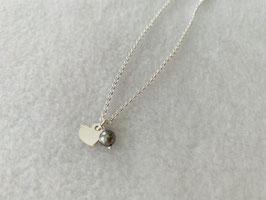 Silberarmband mit Herz und Swarovskiperle - UNIK