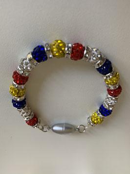 Armband mit 6 mm Straßperlen und Straßrondellen in Fastenachtsfarben