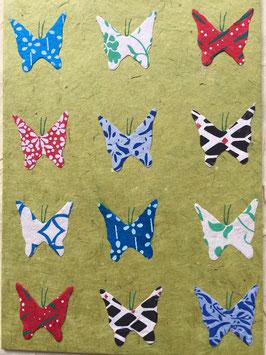Postkarte Schmetterlinge grün