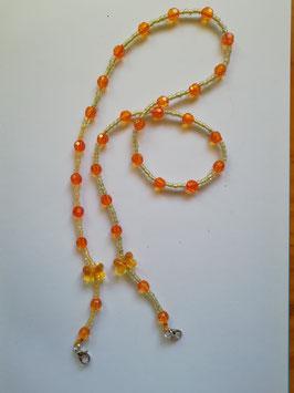Maskenband - gelb & orange mit Schleifen