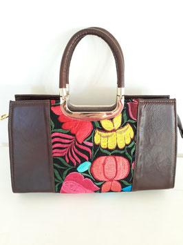 Boho Handtasche / Ledertasche aus Mexiko mit Stickerei gelb-orange
